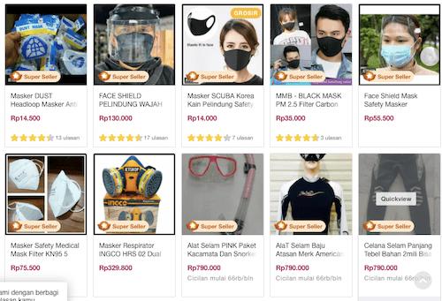 Bukalapakのマスク販売画像