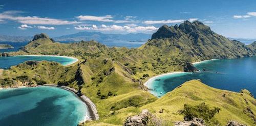 海と山の絶景の画像